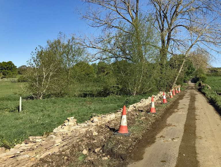 Drystone wall repairs by the River Evenlode