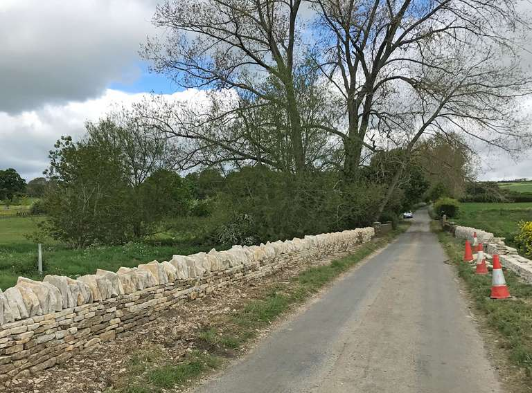 Drystone wall next to River Evenlode