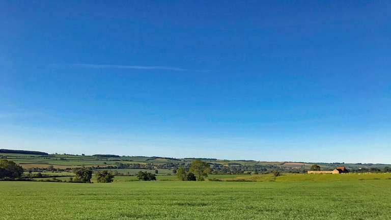 Looking towards Ascott Under Wychwood from opposite Pudlicote Farm entrance