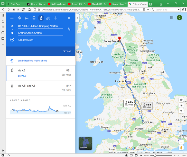 Google Maps route from home to Gretna Green